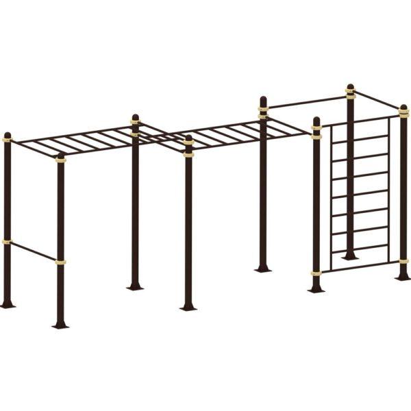 Рукоход двухуровнеый с лестницей и двумя турниками YSK74 2