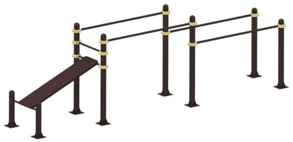 Спортивные уличные брусья+скамья для пресса YSK52 1